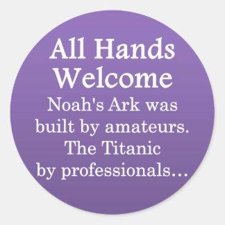 All Volunteer Skills Welcomed Classic Round Sticker
