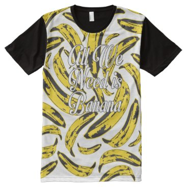 Beach Themed All We Need Is Banana White One Side All-Over-Print T-Shirt
