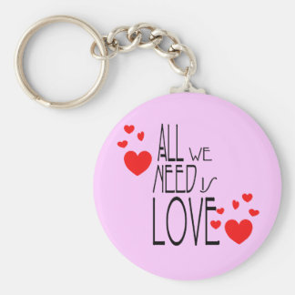 all we need is love basic round button keychain