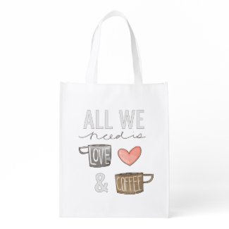 All We Need Is Love & Coffee Market Totes