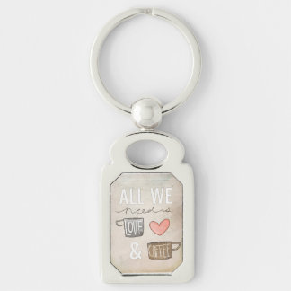 All We Need Is Love & Coffee Silver-Colored Rectangular Metal Keychain