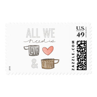 All We Need Is Love & Coffee Postage Stamps