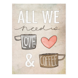 All We Need Is Love & Coffee Postcard