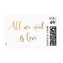 All We Need is Love Script, Faux Gold Foil Text Postage