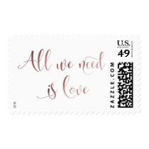 All We Need is Love Script, Rose Gold Typography Postage