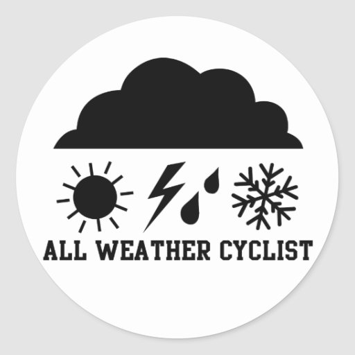 All Weather Cyclist Round Sticker