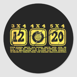 All Wheel Drive (4 By 4) Classic Round Sticker