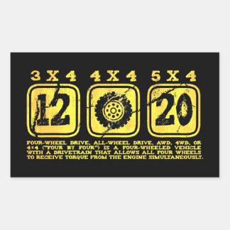 All Wheel Drive (4 By 4) Rectangular Sticker