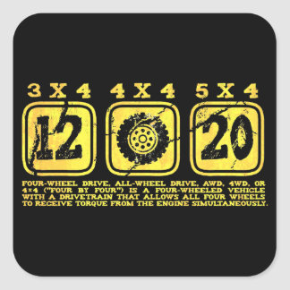 All Wheel Drive (4 By 4) Square Sticker