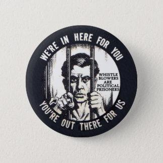 All whistleblowers are political prisoners pinback button