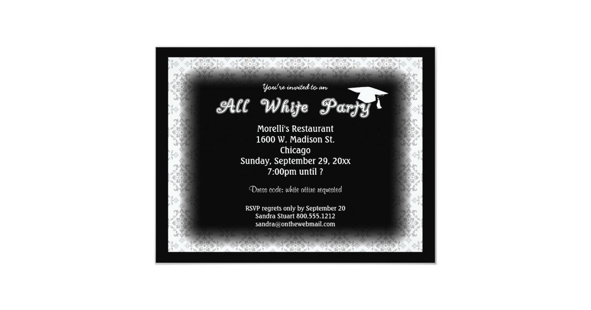 All White Attire Theme Graduation Party Invitation | Zazzle.com