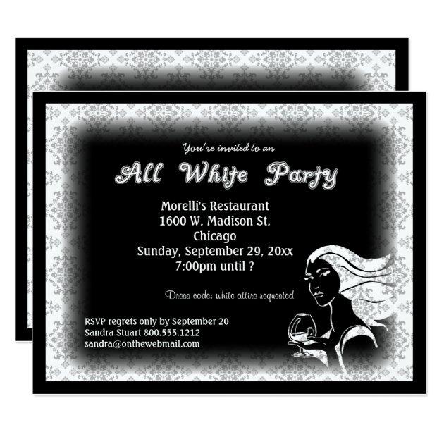 All White Party Invitations Announcements Zazzle