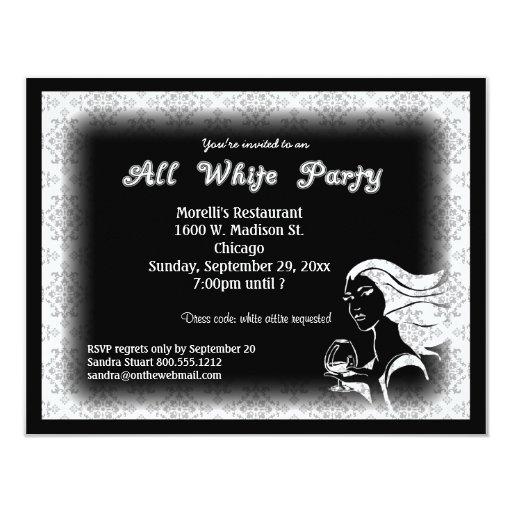 All White Attire Theme Party Invitation