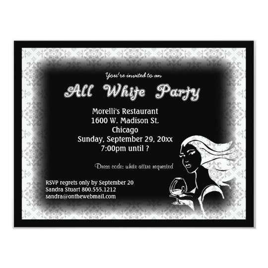 All White Party Invitations Announcements – Black and White Party Theme Invitations