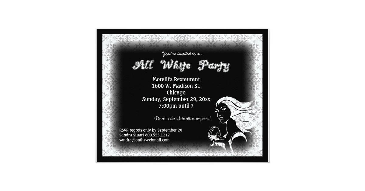 All White Attire Theme Party Invitation – Black and White Theme Party Invitations