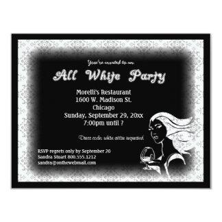 """All White Attire Theme Party Invitation 4.25"""" X 5.5"""" Invitation Card"""