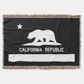 All White Cali Flag Woven Throw Blanket