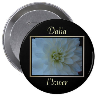 All White Flower Pinback Button