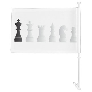 All white one black chess pieces car flag
