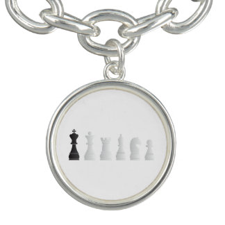All white one black chess pieces charm bracelet
