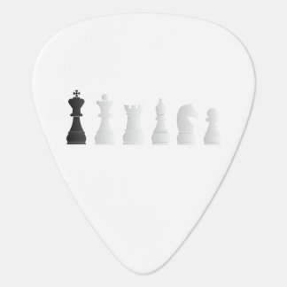 All white one black chess pieces guitar pick