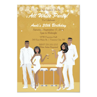 All White Party Invitation - African American