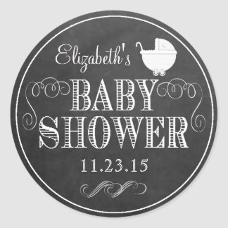 All White Typography Chalkboard Look  Baby Shower Classic Round Sticker