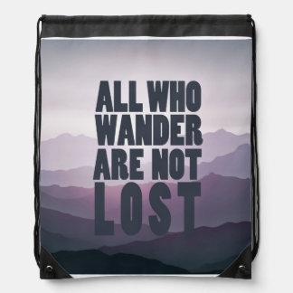 All Who Wander drawstring bag