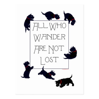 All who wander . . . Scotties, too! Postcard
