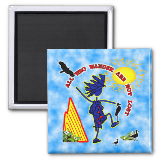 All Who Wander Whimsy 2 Inch Square Magnet