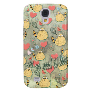 All ya need is Love Cat with mustache pattern. Samsung Galaxy S4 Cover