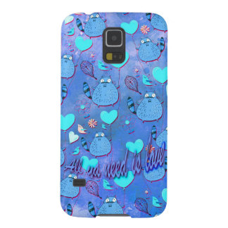 All ya need is love goofy cat artwork in blue. galaxy s5 cover