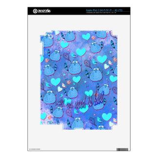 All ya need is love goofy cat artwork in blue. skin for iPad 3
