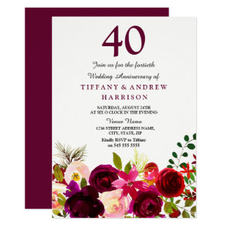 All Years Burgundy Red Wedding Anniversary Invite