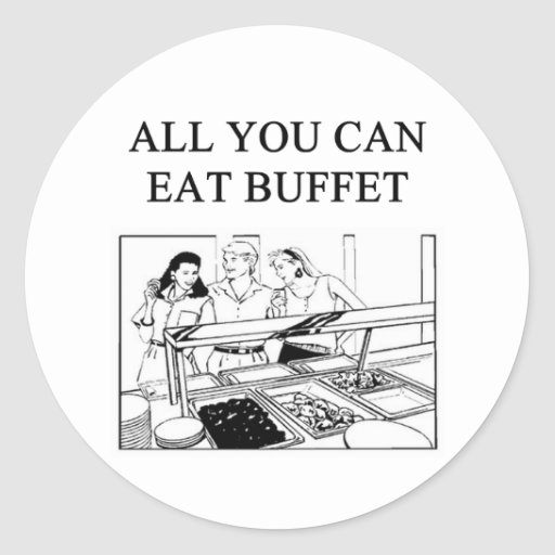 all you can eat buffet round sticker