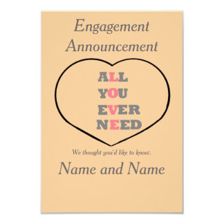 All You Ever Need Love, heart, Engagement Party 3.5x5 Paper Invitation Card