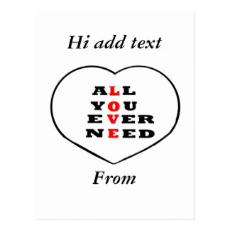 All You Ever Need Love, in a heart, Postcard