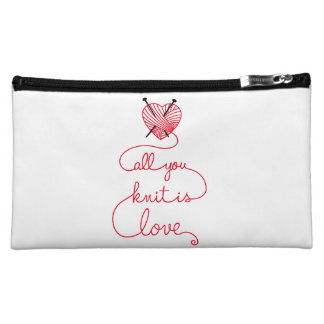 All you knit is love with heart shaped red yarn cosmetic bag