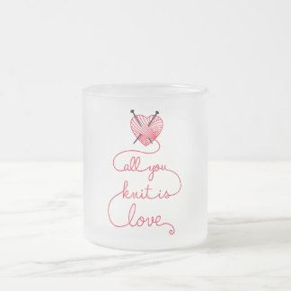 All you knit is love with heart shaped red yarn frosted glass coffee mug