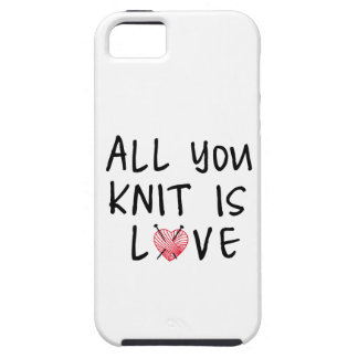All you knit is love with heart shaped red yarn iPhone SE/5/5s case
