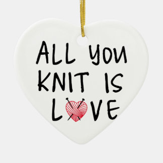 All you knit is love with heart shaped red yarn christmas tree ornaments