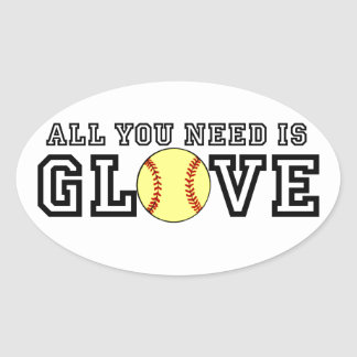 All you Need is Glove! Oval Sticker