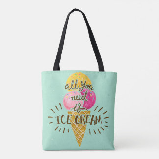 All you need is ice cream typography vintage art tote bag