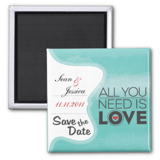 All you need is love! 2 inch square magnet