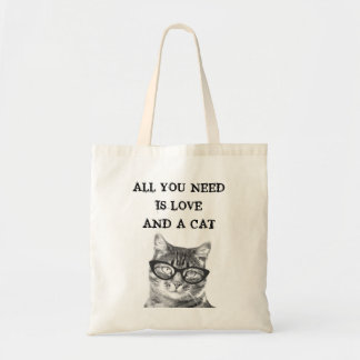 All You Need Is Love And A Cat hipster tote bag