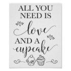 All You Need Is Love and A Cupcake Wedding Sign