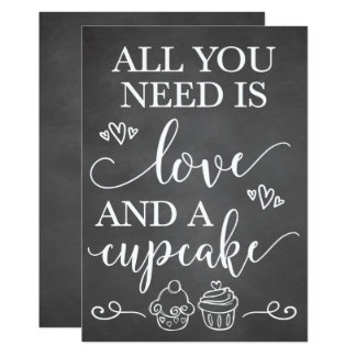All You Need Is Love and A Cupcake Wedding Sign Card