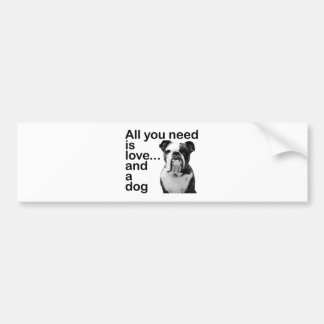 All you need is love... and a dog car bumper sticker