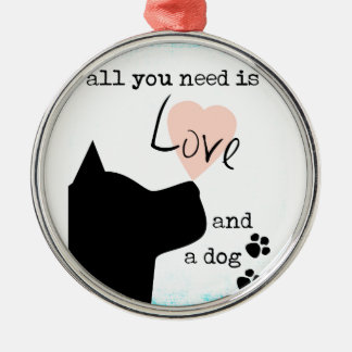 all you need is love and a dog pink blue pit bull metal ornament