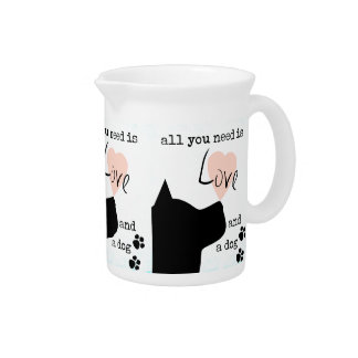 all you need is love and a dog pink blue pit bull pitcher